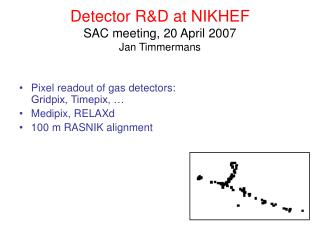 Detector R&D at NIKHEF SAC meeting, 20 April 2007 Jan Timmermans