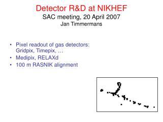 Detector R&D at NIKHEF SAC meeting, 20 April 2007 Jan Timmermans