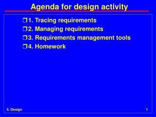 Agenda for design activity