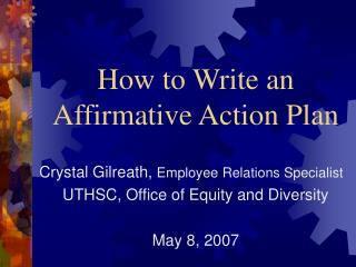 How to Write an  Affirmative Action Plan