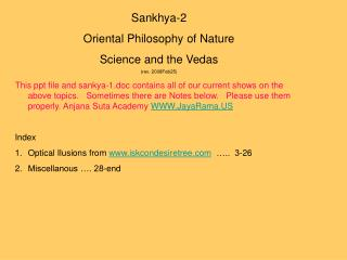Sankhya-2 Oriental Philosophy of Nature Science and the Vedas (rev. 2008Feb25)
