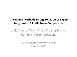 Alternative Methods for Aggregation of Expert Judgments: A Preliminary Comparison