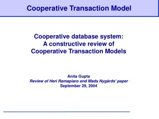 Cooperative Transaction Model