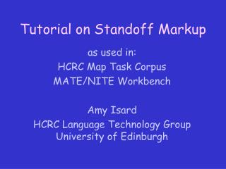 Tutorial on Standoff Markup