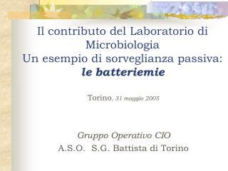 Torino , 31 maggio 2005 Gruppo Operativo CIO A.S.O.  S.G. Battista di Torino