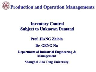 Production and Operation Managements