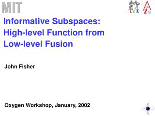Informative Subspaces:  High-level Function from  Low-level Fusion