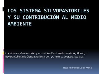 Los sistema silvopastoriles y su contribución al medio ambiente