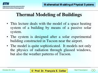 Thermal Modeling of Buildings