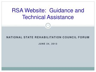 RSA Website:  Guidance and Technical Assistance
