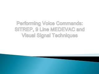 Performing Voice Commands: SITREP, 9 Line MEDEVAC and Visual Signal Techniques