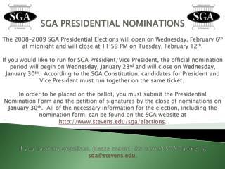 SGA PRESIDENTIAL NOMINATIONS