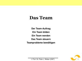 Das Team Der Team-Auftrag Ein Team bilden Ein Team werden Das Team steuern Teamprobleme bewältigen