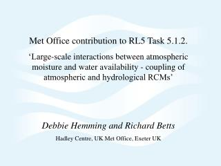 Met Office contribution to RL5 Task 5.1.2.