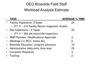 DEQ Biosolids Field Staff  Workload Analysis Estimate