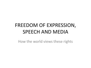 FREEDOM OF EXPRESSION, SPEECH AND MEDIA