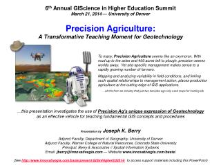 Precision Agriculture: A Transformative Teaching Moment for Geotechnology
