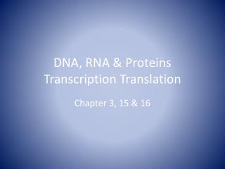 DNA, RNA & Proteins Transcription Translation