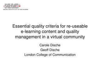 Carole Dische Geoff Dische London College of Communication