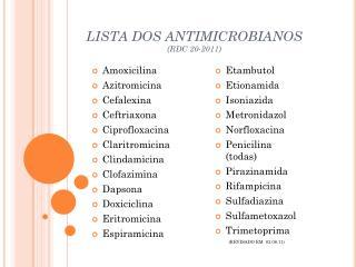 LISTA DOS ANTIMICROBIANOS (RDC 20-2011)