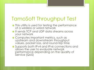 TamoSoft  Throughput Test