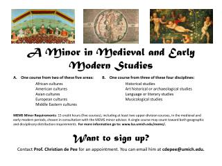A Minor in Medieval and Early Modern Studies