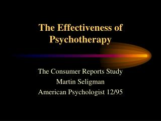 The Effectiveness of Psychotherapy