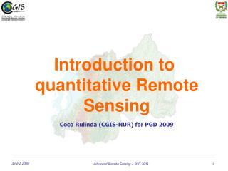 Introduction to  quantitative Remote  Sensing