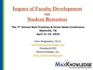 Impact of Faculty Development on  Student Retention