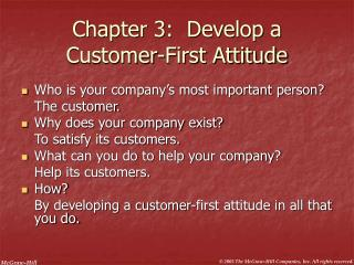 Chapter 3:  Develop a Customer-First Attitude