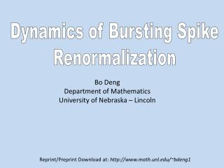 Dynamics of Bursting Spike Renormalization