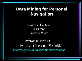 Data Mining for Personal Navigation