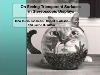 On Seeing Transparent Surfaces  in Stereoscopic Displays