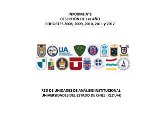 INFORME N°3  DESERCIÓN DE 1er AÑO COHORTES 2008, 2009, 2010, 2011 y 2012