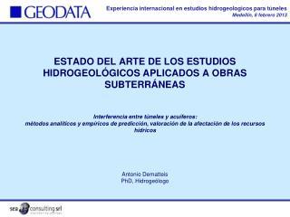 Antonio Dematteis PhD, Hidroge�logo