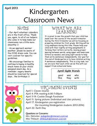 Kindergarten Classroom News