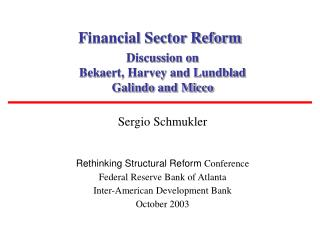 Financial Sector Reform
