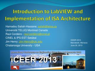 Introduction to  LabVIEW and Implementation of ISA Architecture