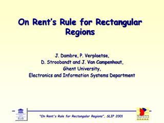 On Rent's Rule for Rectangular Regions