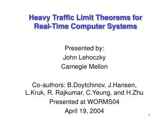 Heavy Traffic Limit Theorems for  Real-Time Computer Systems