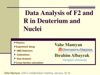 Data Analysis of F2 and R in Deuterium and Nuclei