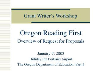 Grant Writer's Workshop