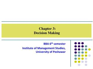 Chapter  3 :  Decision Making