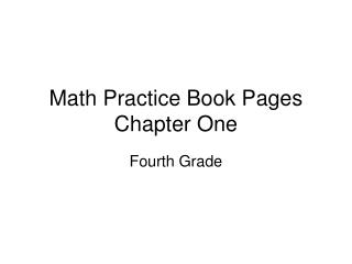 Math Practice Book Pages Chapter One