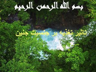 """  "" بسم الله الرحمن الرحیم تاثیر تغذیه بر جنسیت جنین"
