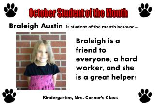 i s student of the month because….