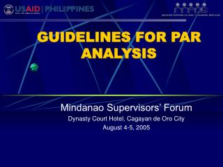 GUIDELINES FOR PAR ANALYSIS