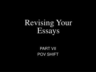 Revising Your Essays