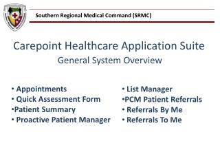 Carepoint Healthcare Application Suite General System Overview