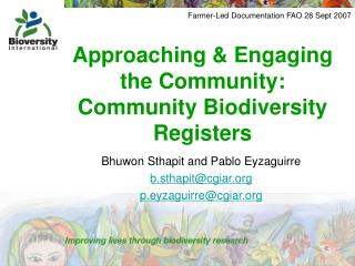 Approaching & Engaging the Community: Community Biodiversity Registers